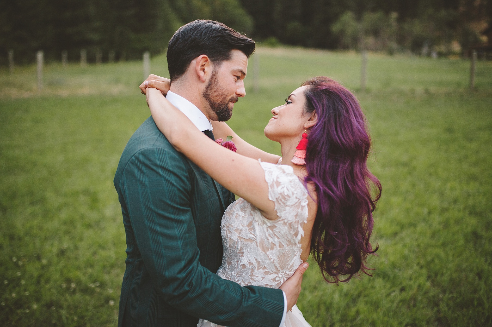 blue hour wedding portrait of bride and groom