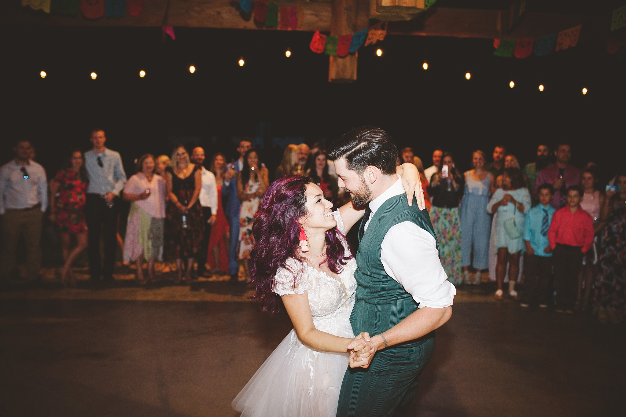 happy emotional first wedding dance