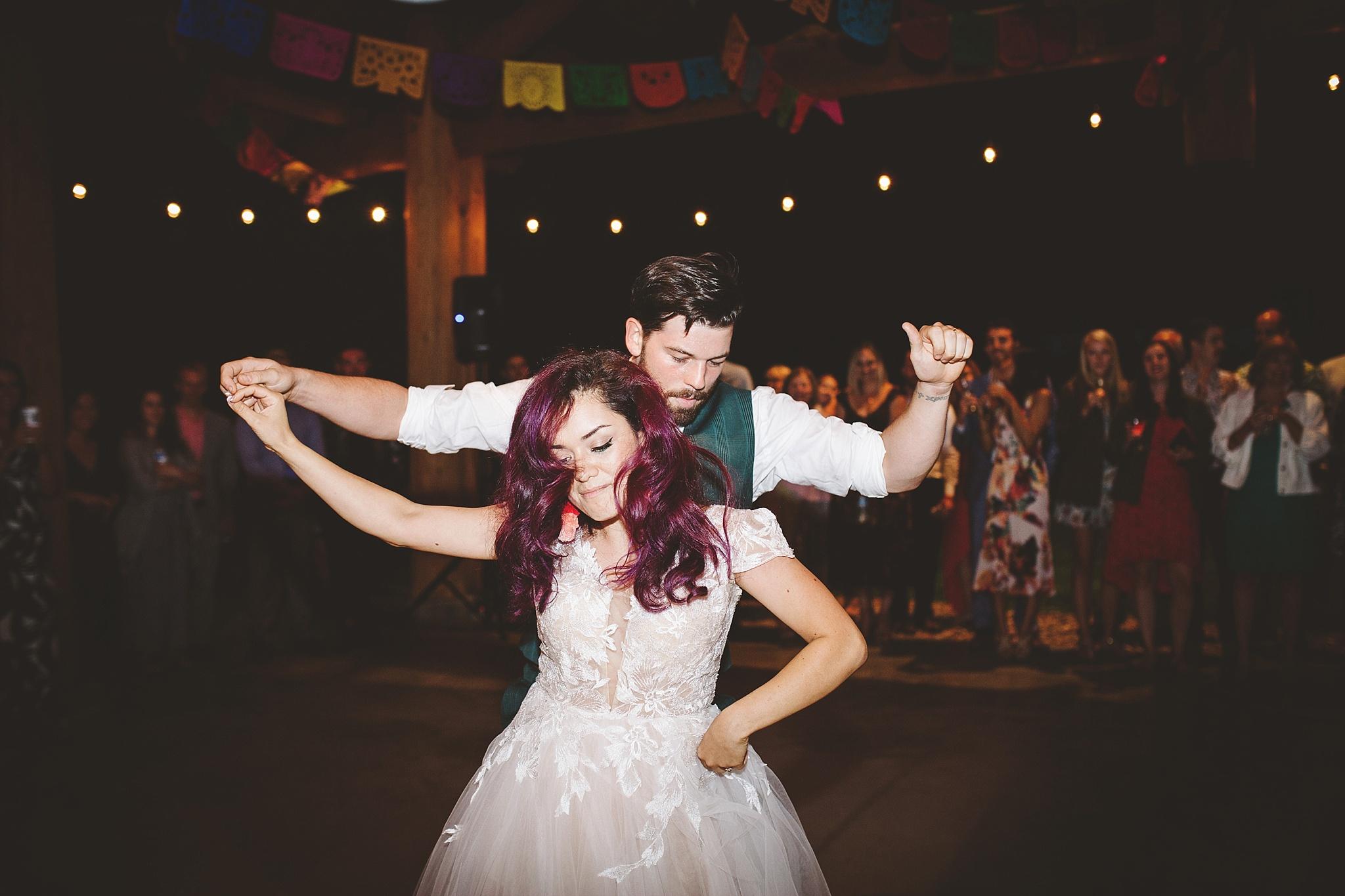 hip first wedding dance in woods