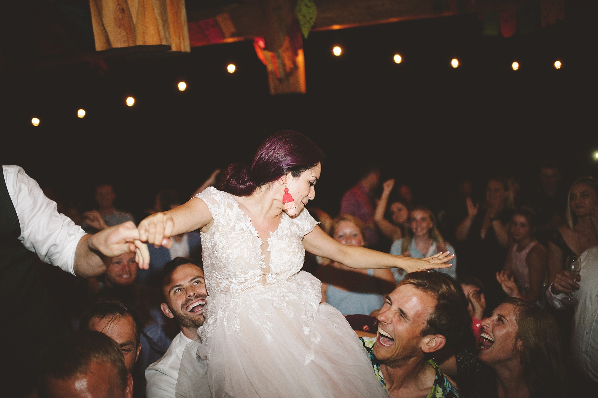 wild dance party at wedding in the woods