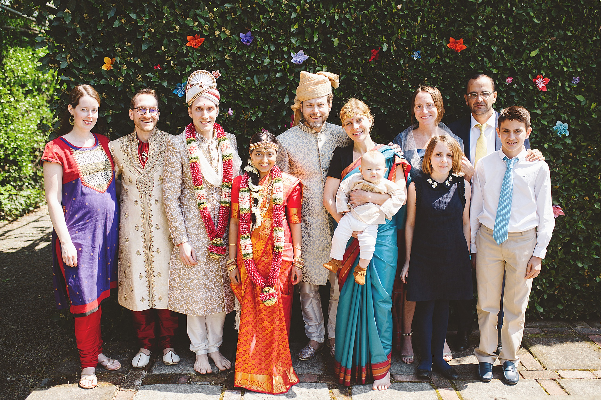 traditinoal hindu wedding family portrait
