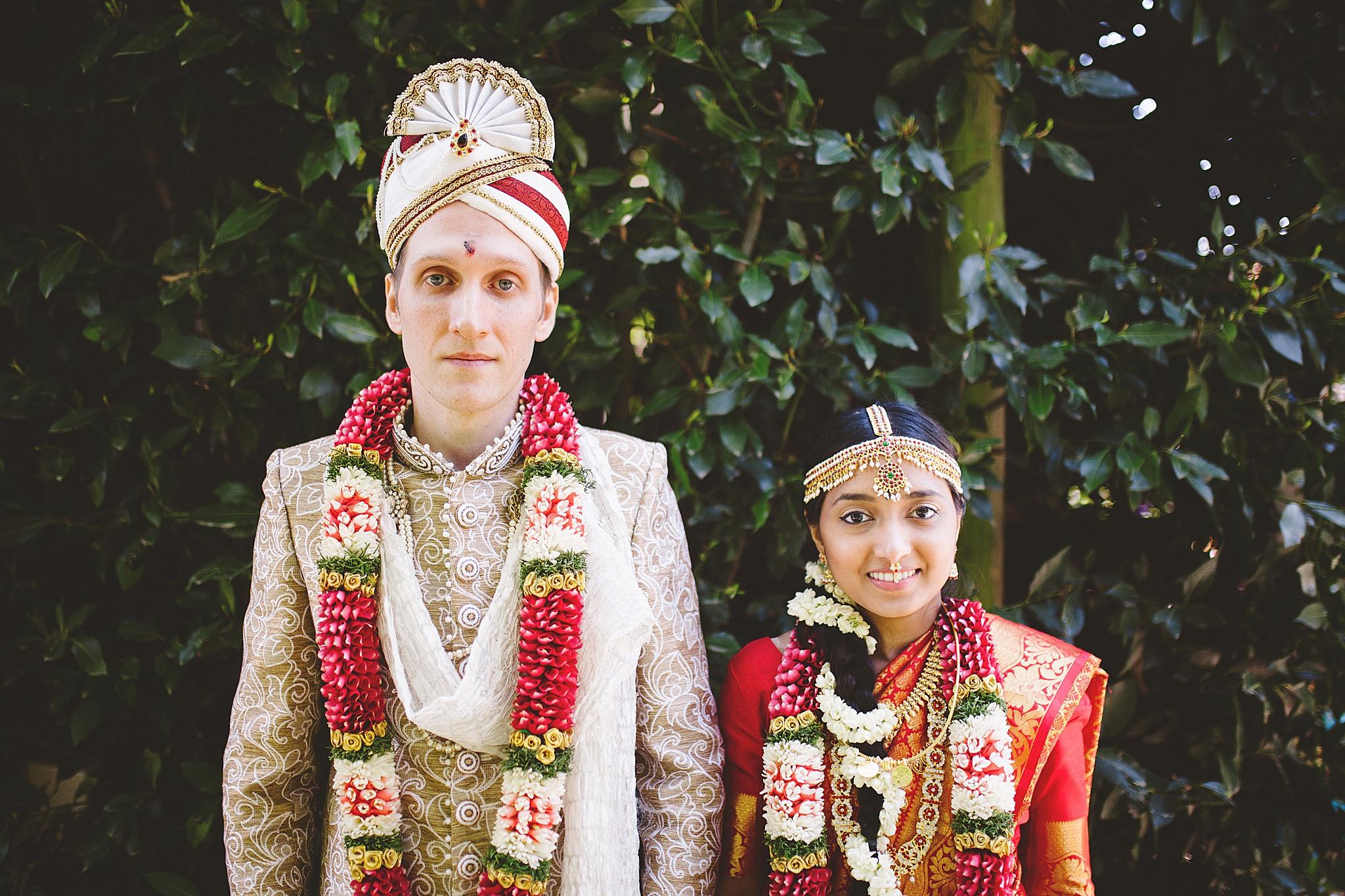 traditional hindu wedding portrait of couple in california.
