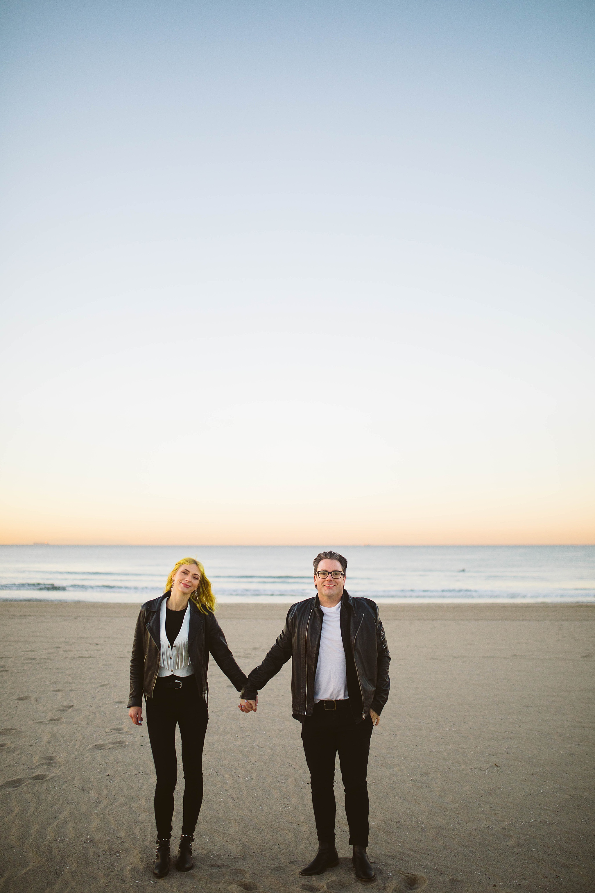 venice beach rock inspired engagement picture