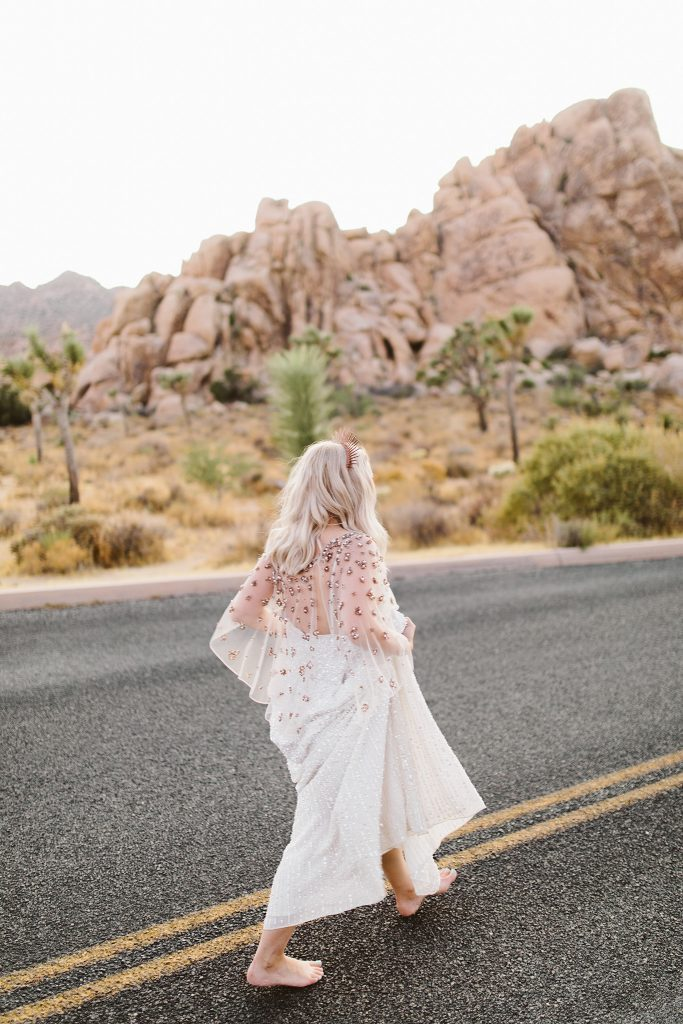 Joshua Tree national park elopement barefoot bride
