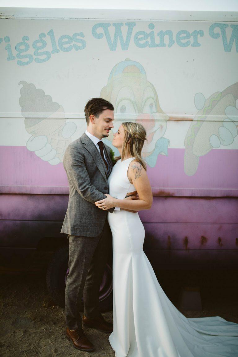 Hicksville trailer palace joshua tree wedding bride and groom